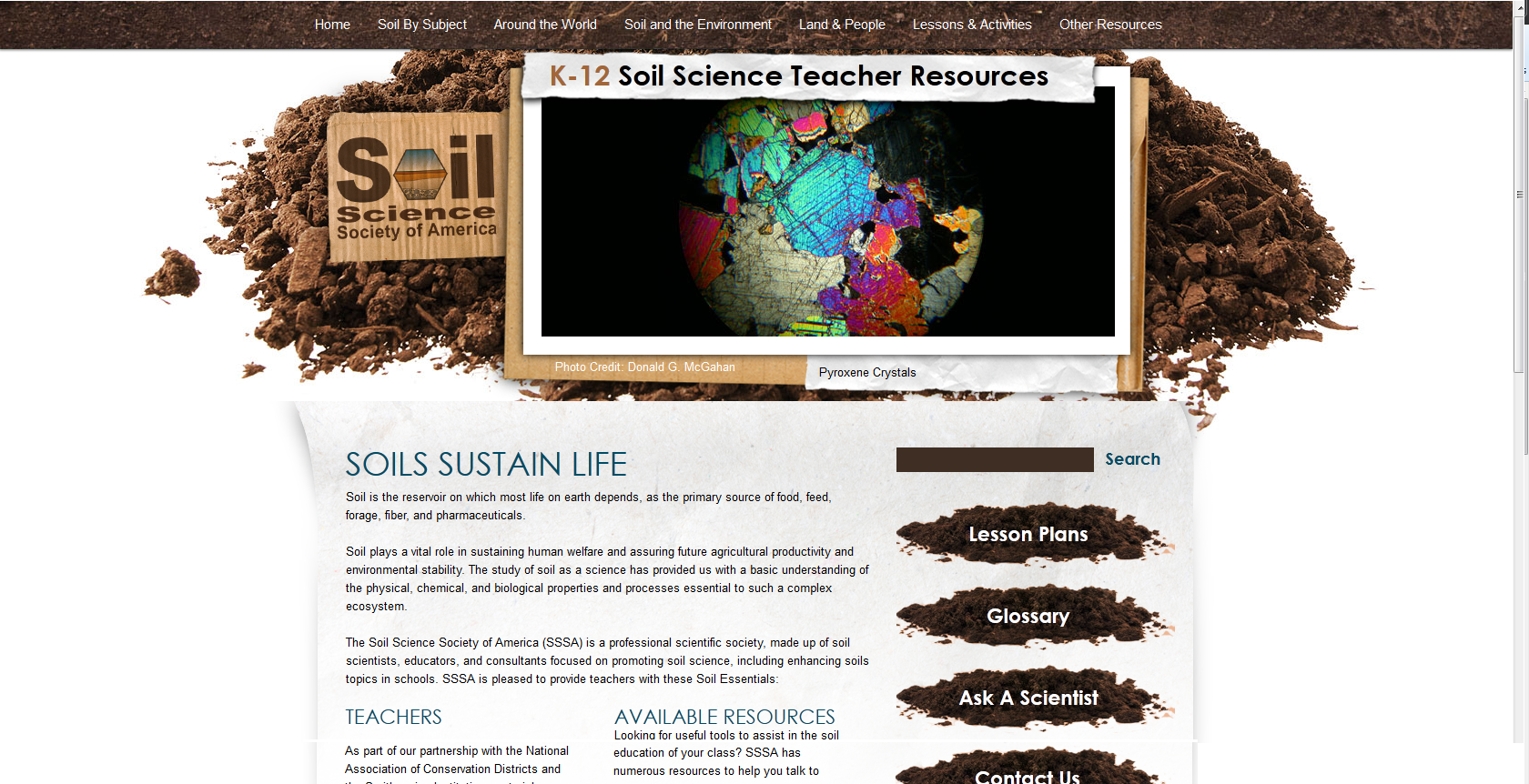 This is the home page for the webpage i work with for the for Soil 4 teachers