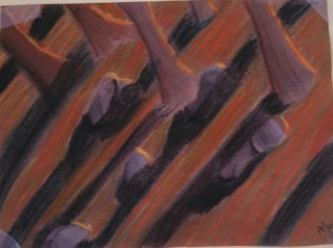 This is a chalk pastel drawing of a sunset in the pine forest in Umsted Park.