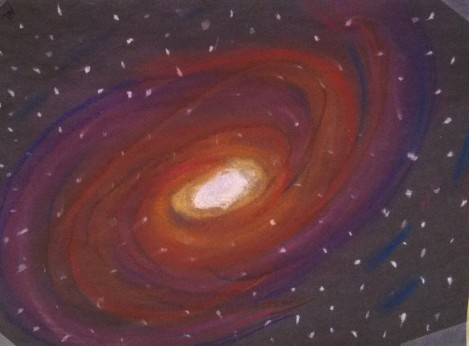 I love this piece, the white hot light and purples and oranges with the stars in the middle.