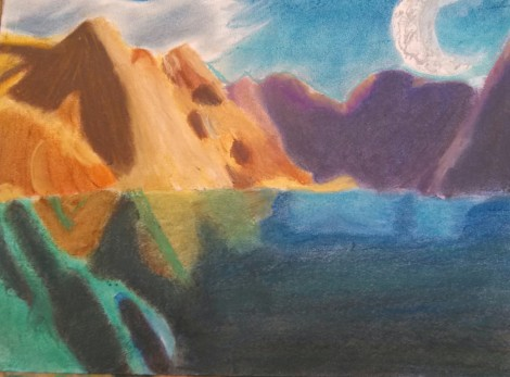I decided to go with a more fantasy landscape next to a blue mountain lake.