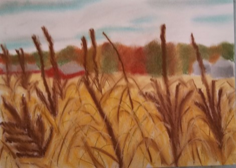 A pastel rendition of harvest time in Wisconsin