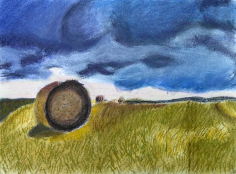 I really like the lone hay bale in the middle of a thunderstorm. I