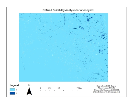 Figure 3: This is the same vineyard using a binary classification. In order to be acceptabe (1), ALL the traits from the previous map (Fig 2). This results in a lower proportion of suitable areas.