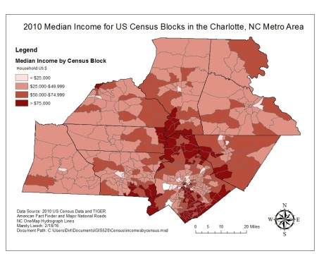 Figure 2: Median Income in a nine county area around the Charlotte metro area. Marketing will be targeted in the darker, wealthier areas.